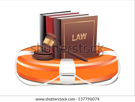 Legal aid. Gavel, book and lifebuoy on white background - stock photo