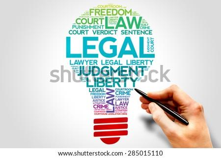 Legal bulb word cloud concept - stock photo