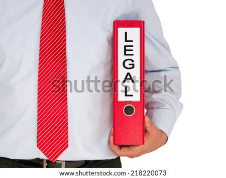 Legal - Businessman with red binder on white background