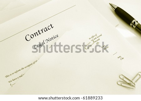 legal contract and file folders