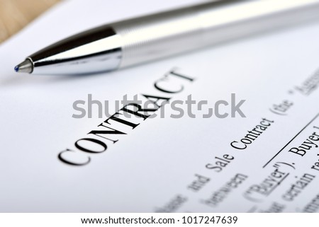 Legal Contract Signing Buy Sell Real Stock Photo