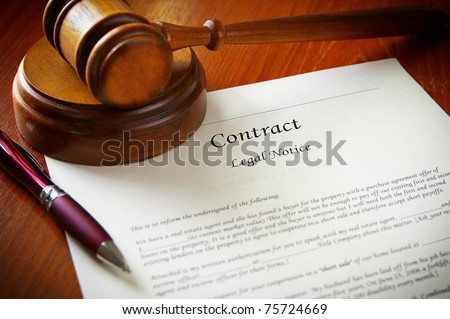 legal gavel and a business contract - stock photo
