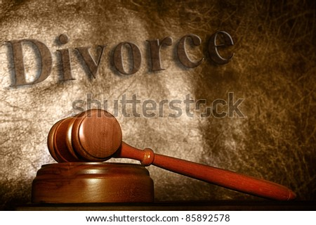 legal gavel and divorce text background - stock photo