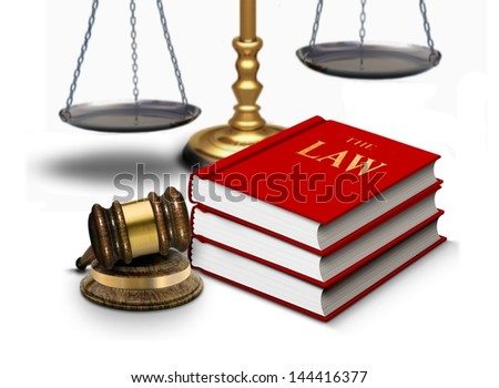 Legal gavel with scales and law books