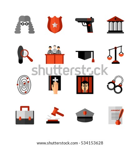 Legal law symbols flat icons collection with bible oath and court jury conviction verdict abstract isolated  illustration