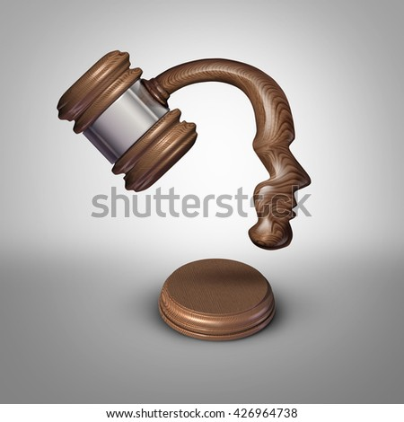 Legal mind law thinking concept and judgement symbol as a judgement mallet or gavel made shaped as a human head for strategies in legislation and judge or lawyer ideas as a 3D illustration. - stock photo