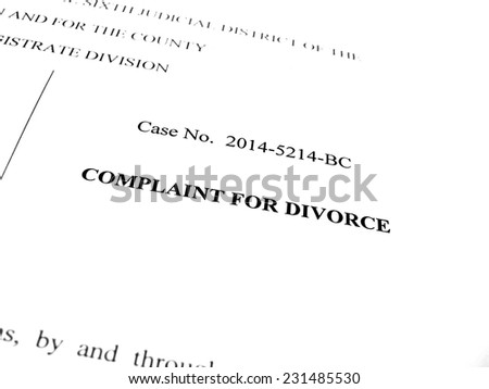 Legal papers Complaint for Divorce in court - stock photo
