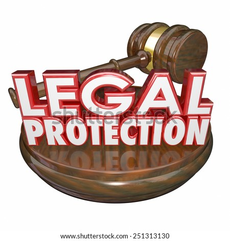 Legal Protection 3d words with wooden gavel to illustrate law trial represented by a lawyer or attorney - stock photo
