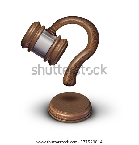 Legal questions concept or court questions symbol and law advice icon as a judge gavel mallet with a sound block shaped as a question mark for uncertainty in legality issues or sentencing decision. - stock photo