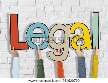 Legal Rightful White Bricks Wall Hands Hold Concept - stock photo