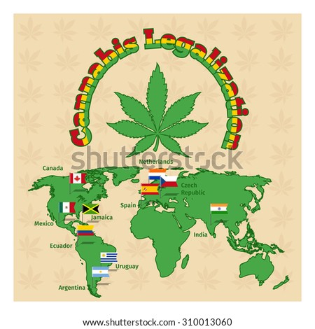 Legalization of marijuana or cannabis legalize.  Plant drug, hemp and map world, legal herb - stock photo