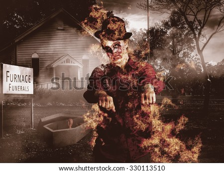 Legend of the unstoppable walking dead zombie girl rising from a fiery wake to reek havoc amongst the living. You kill em, we grill em