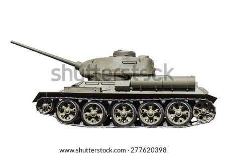 Legendary Soviet tank T-34-85 at war in the second world war isolated on white background. Russian military