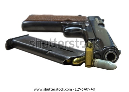 Legendary U.S. Army handgun Colt with bullets isolated on white background. Military model - stock photo