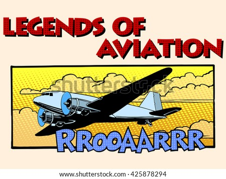 Legends of aviation abstract retro airplane - stock photo