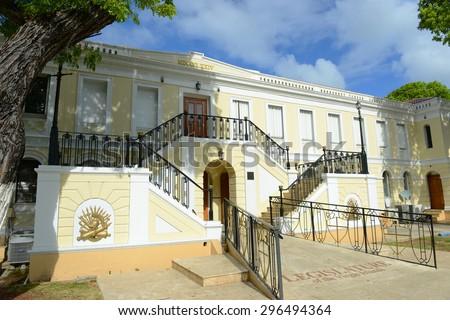Legislature Building (Capitol Building) of U.S. Virgin Islands in Charlotte Amalie, Saint Thomas, U.S. Virgin Islands. - stock photo