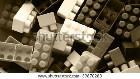 Lego background - black and white - abstract - stock photo