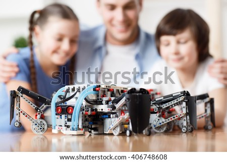 Lego construction lying on the table  - stock photo
