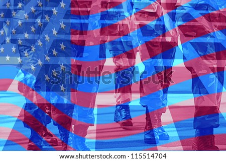 Legs and feet of marching soldiers with american flag overlay - stock photo