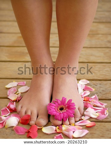 Legs and flower petals