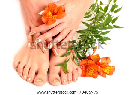 Legs and hands isolated on white - stock photo