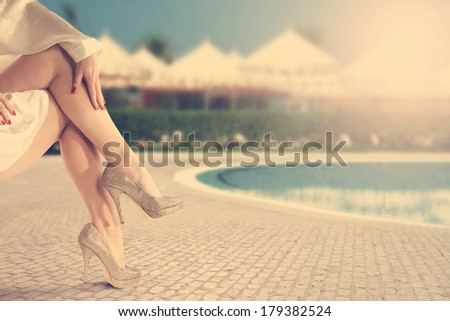 legs and sun  - stock photo