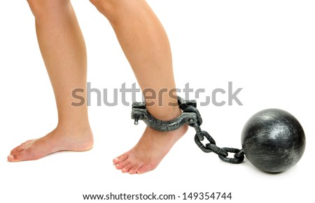 Legs in heavy iron shackles isolated on white - stock photo