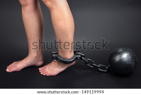 Legs in heavy iron shackles on grey background - stock photo