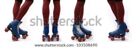 Legs in roller skates, various positions, isolated on white