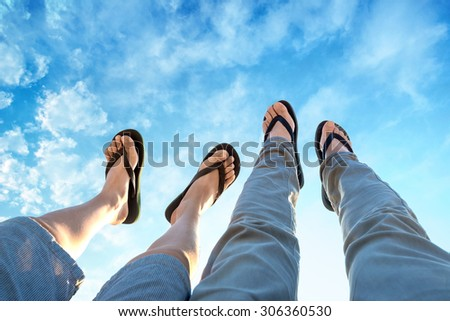 Legs in the air - stock photo