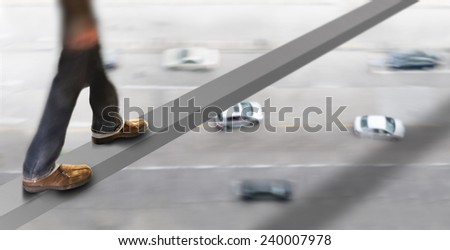 Legs of man in brown shoes walking on beam high above busy street - stock photo