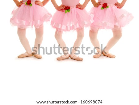 Legs of three small girls in Ballet Recital Costume and Slippers pose in Plie - stock photo