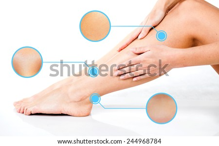 Legs skin care with infographic arrows - stock photo
