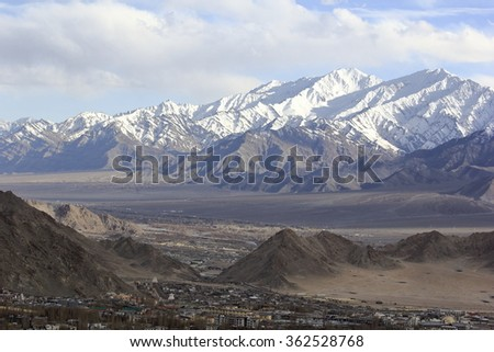 Leh City View with Stok Kangri Peak in Ladakh Range seeing from Santi Stupa Leh City in North India