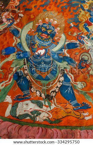 LEH, INDIA - 28 JULY, 2015: Ancient sacred wall paintings at Thiksey Monastery - Tibet, Leh district, Ladakh, Himalayas, Jammu and Kashmir, Northern India