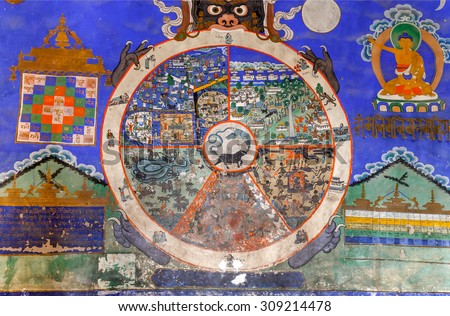 LEH, INDIA - 28 JULY, 2015: Wheel of Dharma. Ancient buddhist fresco on the wall of Thiksey Gompa - Tibet, Leh district, Ladakh, Himalayas, Jammu and Kashmir, Northern  India