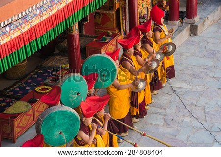 Leh Ladakh,India - July 7,2014 : Lama (monk) play music for opening ceremony of the Hemis Festival.