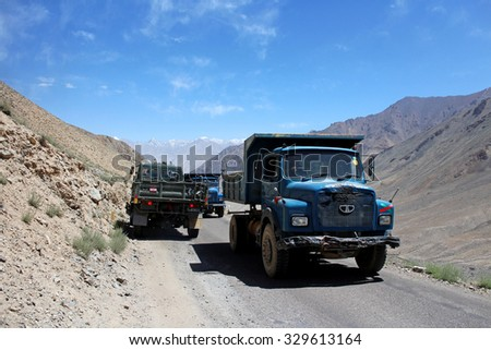 LEH LADAKH, INDIA - JULY 25, 2015: Truck on the mountain, route from Leh to Kashgar, Ladakh, Indian Himalayas, India. JULY 25 2015
