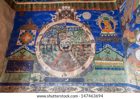 LEH, LADAKH, INDIA-OCTOBER 11:Wheel of Dharma. Old buddhist fresco at the wall of tibetan monastery Thiksey Gompa on October 11,2012 in Leh,Ladakh,India.