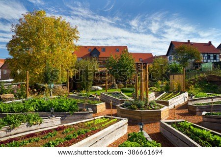 Lehmhof Lindig - recognized recreation center with Barnyard Cafe, ecological building, clay therapy, herbal Terrace, Raised Bed, Garden Kitchen and holiday apartments - stock photo