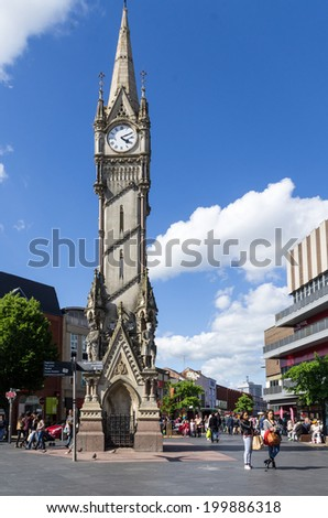 LEICESTER,. UK  - may  25: Clocktower at main squere in Leicester, 25 May  2014 in Leicester , UK. - stock photo