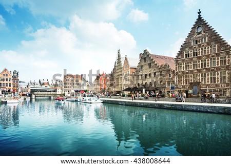 Leie river in Ghent town, Belgium - stock photo