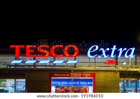 LEIGH, MANCHESTER - MAR 24: Tesco Extra Store Sign on March 24, 2014 in Leigh, Manchester. United Kingdom, Great Britain, England, UK. Tesco is Britain's biggest supermarket and biggest retailer in UK