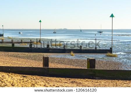 Leigh on sea Essex coast UK Sea defences coastal management thames estuary  - stock photo