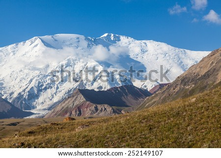 Leinin peak, view from Base camp 1, Pamir mountains, Kyrgyzstan