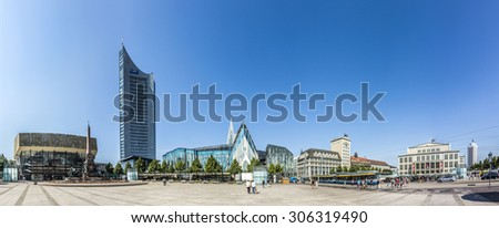 LEIPZIG, GERMANY - AUG 8, 2015: Old Town Hall in Leipzig with marketplace. In about 1165, Leipzig was granted municipal status and market privileges. - stock photo
