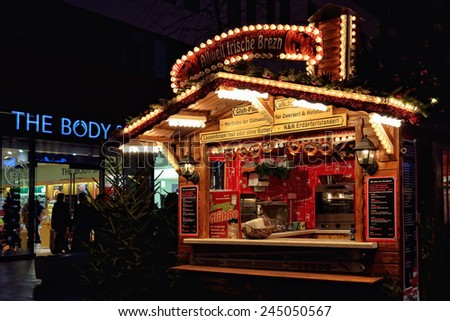 LEIPZIG, GERMANY-DECEMBER 20, 2014: Traditional German decorated pavilion on Christmas market. Gluhwein or hot wine is mostly sold drink on Christmas markets