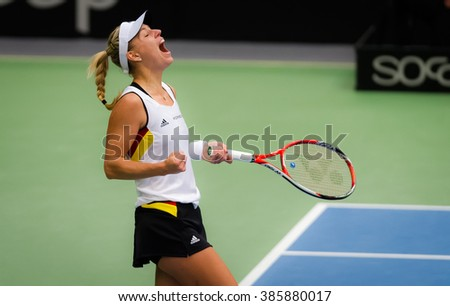 LEIPZIG, GERMANY - FEBRUARY 7 : Angelique Kerber at the 2016 Germany vs. Switzerland Fed Cup Tie