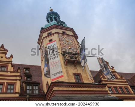 LEIPZIG, GERMANY - JUNE 14, 2014: Banners for the Bachfest annual summer music festival celebrating baroque musician Johann Sebastian Bach in his town