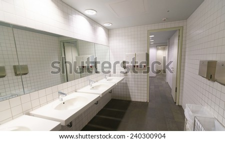 LEIPZIG, GERMANY - SEP 11: Airport toilet on September 11, 2014. Leipzig Airport is an international airport located in Schkeuditz, Saxony and serves both Leipzig, Saxony and Halle, Saxony-Anhalt.